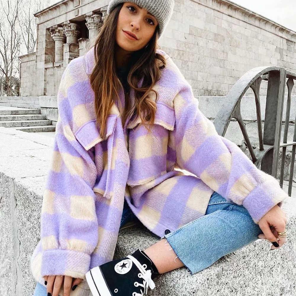 2020 Lente Vrouwen Paars Geel Plaid Jas Shirt Stijl Zakken Streetwear Vrouw Oversize Jassen Vrouwelijke Jas Chic