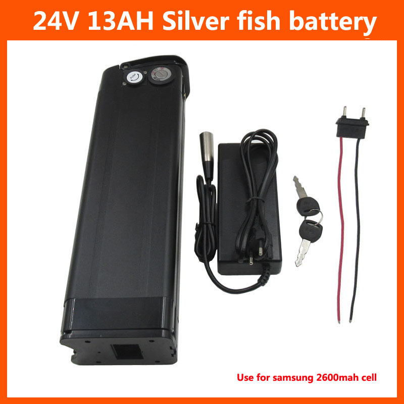 24V silver fish battery pack 300W 24V 13AH lithium ion battery use for samsung 2600mah cell with 2A charger Bottom Discharge|Electric Bicycle Battery| |  - title=