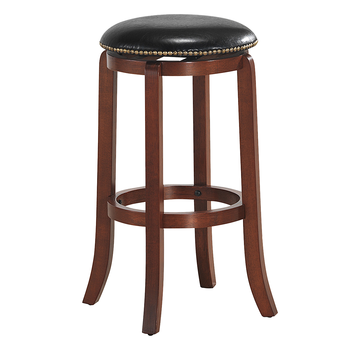 Costway 29'' Swivel Bar Stool Leather Padded Dining Kitchen Pub Bistro Chair Backless