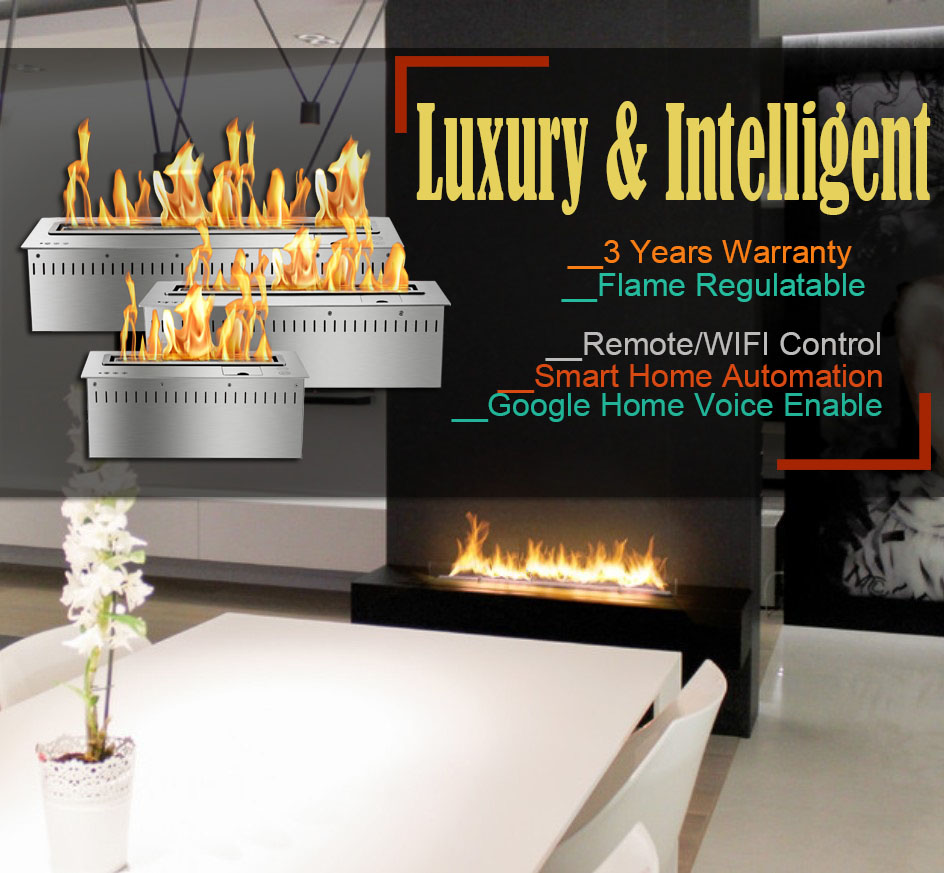 Hot Sale 24 Inches Ethanol Chimney Wifi Remote Control Ethanol Fire Pit Insert