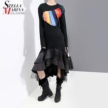 Nouveau 2020 Aumn à manches longues femmes noir Flare Robe maille & PU ourlet à volants dames élégant Robe de soirée Clubwear Robe Femme 5696