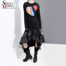 Nuevo 2020 Aumn manga larga negro de las mujeres vestido de malla y PU volantes dobladillo damas elegante fiesta Clubwear vestido túnica para mujer 5696