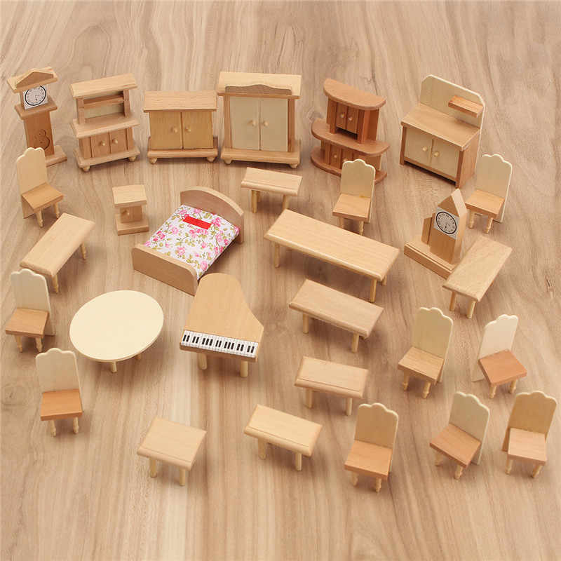 Dollhouse Miniature Unpainted Wooden Furniture Suite 1/24 Scale Model Doll Toys Kids Toys For Children Pretend Play Novelty Gift