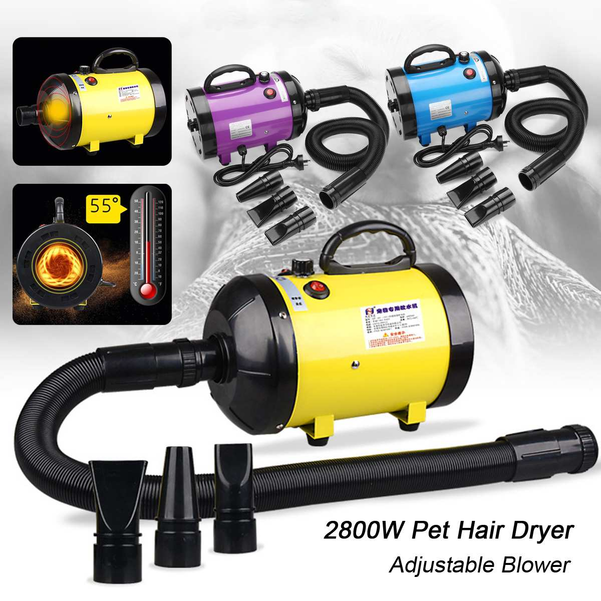 2800W Low Noise Pet Dog Grooming Dryer Pet Hair Dryer Blower Heater Adjustable Speed 220V~240V With 3 Nozzles For Dogs