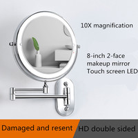 8 inch Led Makeup Mirror 10X magnification Touch Bright Adjustable Bathroom Mirrors metal Double Sided Wall Mount Vanity Mirror