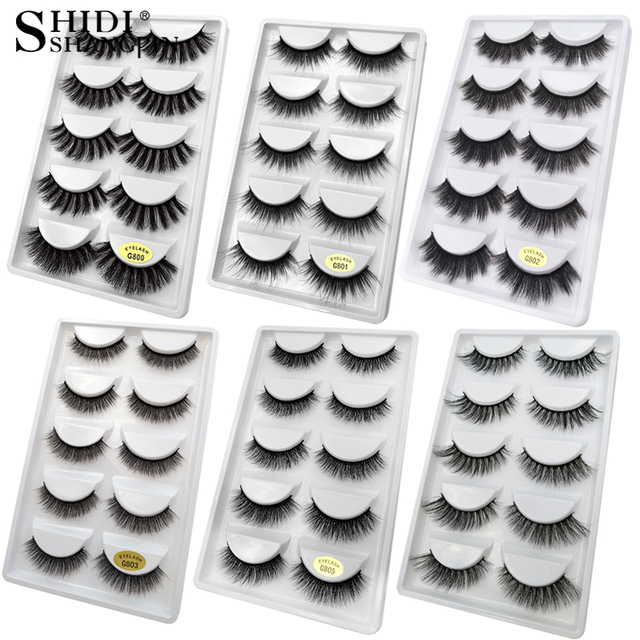 5 Pairs Multipack 3D Mink Lashes False Eyelashes Handmade Wispy Fluffy Long Lashes Natural Eye Makeup Tools Faux Eye Lashes G800 1