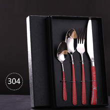 цена на 4-Pieces Dinnerware Set 304 Stainless Steel Cutlery Set Tableware Luxury Fork Teaspoon Knife Cutlery Set Fork Spoon With Giftbox