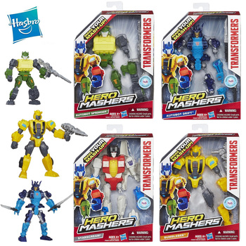 Hasbro Transformers Make Your Mask Up Action Figures Autobot Hero Mashers Models Collection Springer Bumblebee Robot Boy Toy transformers toys the last knight premier edition steelbane deluxe dinobot slug autobot sqweeks action figures collection model