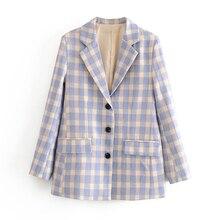 Women Elegant Plaid Single Breasted Blazer Jacket Casual Long Sleeve Female Chic