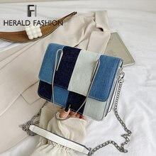 Джинсовая Лоскутная женская сумка на плечо модная через с цепочкой