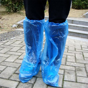 Disposable Shoe Covers Blue Rain Shoes and Boots Cover Plastic Long Shoe Cover Clear Waterproof Anti-Slip Overshoe image