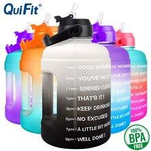 Quifit garrafa de água 2.2l 73oz motivacional com palha leakproof bpa livre esportes viagem jarro água marcador de tempo ajuda a perder peso