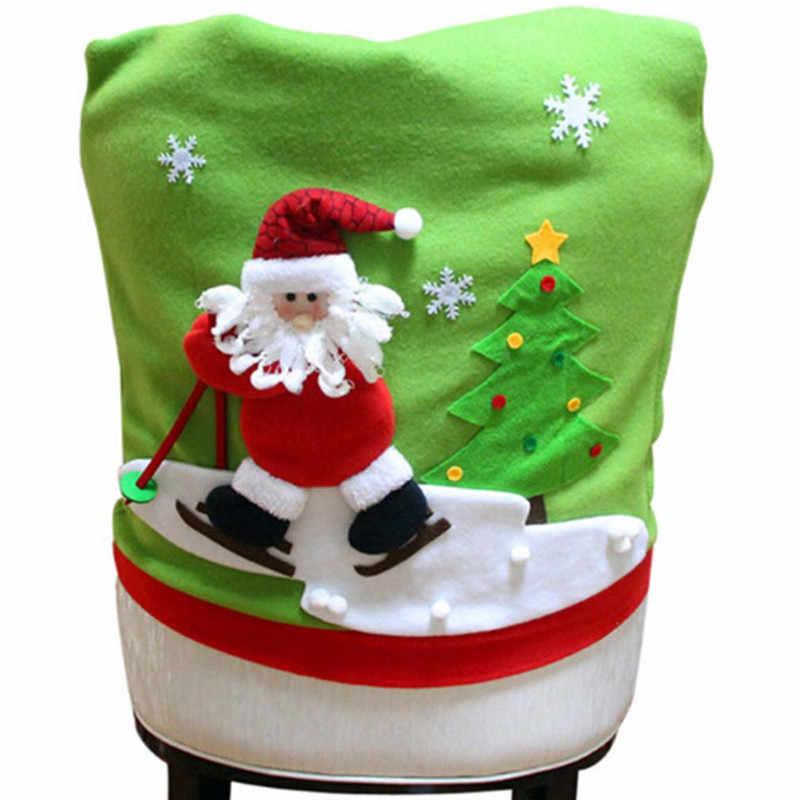 Hot Xmas Kerst Etentje Stoel Cover Ornament kerstman Festival Decoraties Voor huis woonkamer antimacassar