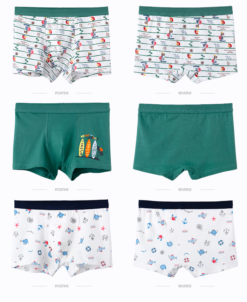 Children's Underwear Baby Cotton Briefs Cartoon Print Underpants 6 8 10 12 14 Years Striped Toddler Panties Boys Briefs 3pcslot