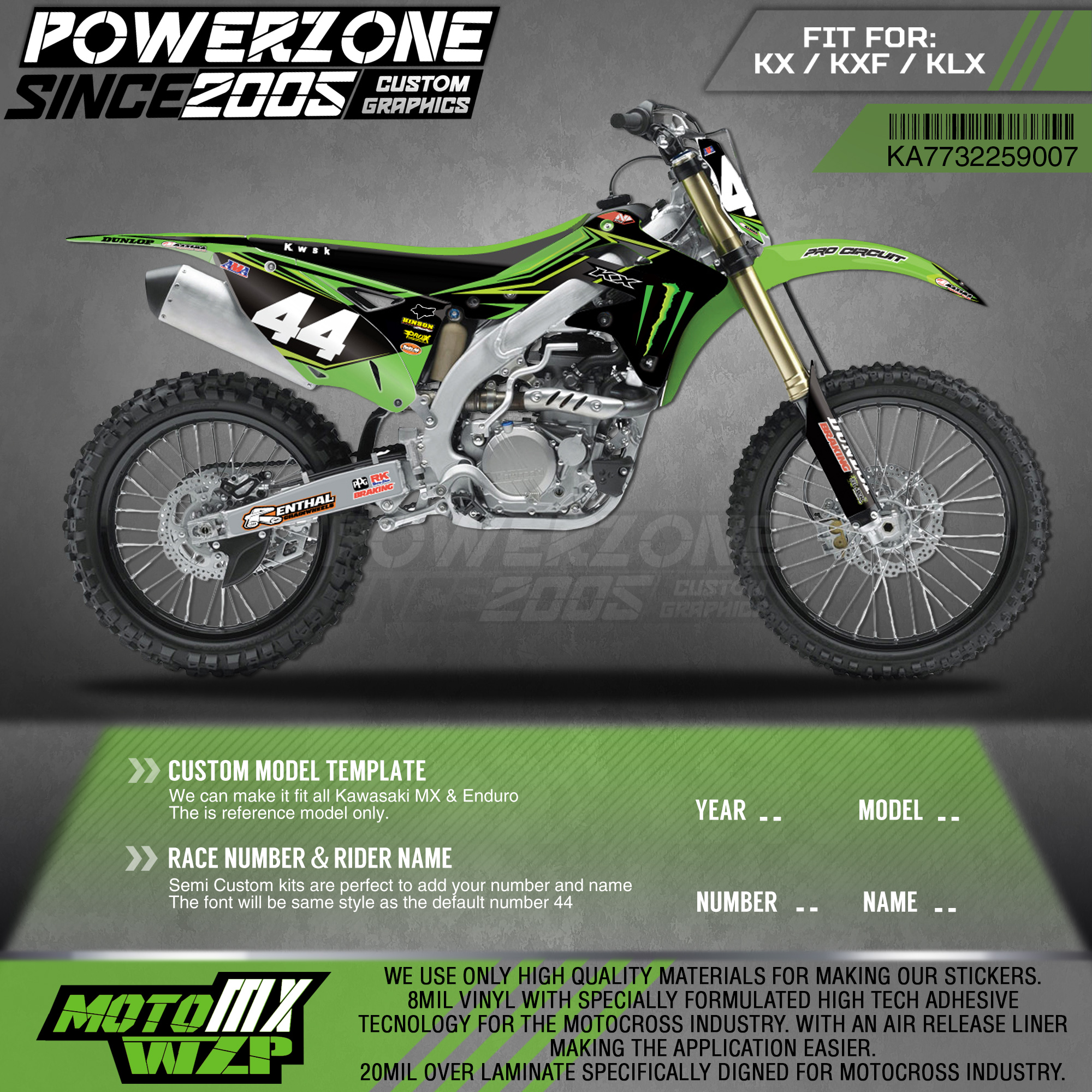 PowerZone Custom Team Graphics <font><b>Decals</b></font> 3M Stickers Kit For Kawasaki Sticker <font><b>Decal</b></font> 2013-2016 <font><b>KX250F</b></font> 07 image