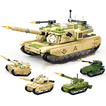 Modern tank four-in-one deformation fit military small particles boy assembled enlightenment building block toy