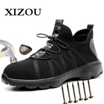 XIZOU 2020 Safety Boot Air Mesh Men's Safety Shoes Steel Toe Boots Men Puncture-Proof Work Sneakers indestructible shoes