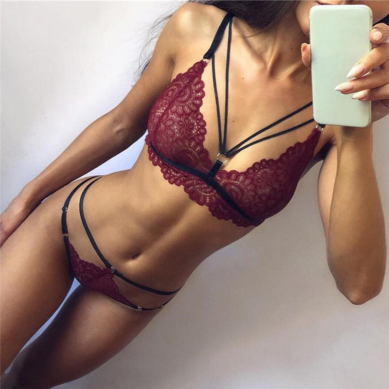 women's Sexy Bra Set Solid Color Lace Bra Set Back Closure women's Intimates Thin Deep V-neck Push Up Underwear