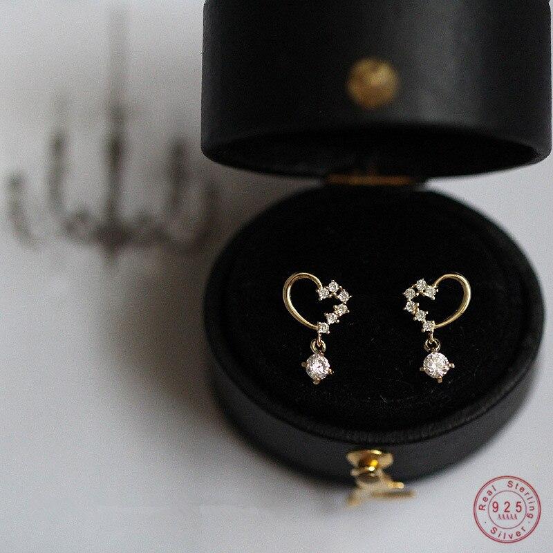 925 Sterling Silver Pavé Zircon Asymmetric Geometric Love Earrings Women Fashion Party Creative Jewelry Accessories