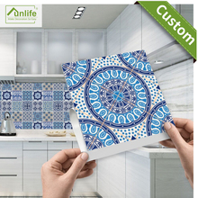 Funlife 20*20cm*10pcs/7.87*7.87inch Bathroom Blue and white porcelain tile stickers decals home decoration waterproof wallpaper