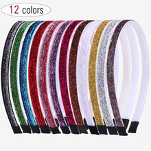 XIMA 12 unids/lote Fashion Lady Girls purpurina diademas brillantes aro pelo DIY plástico banda para el cabello 1CM diadema accesorios para el cabello(China)