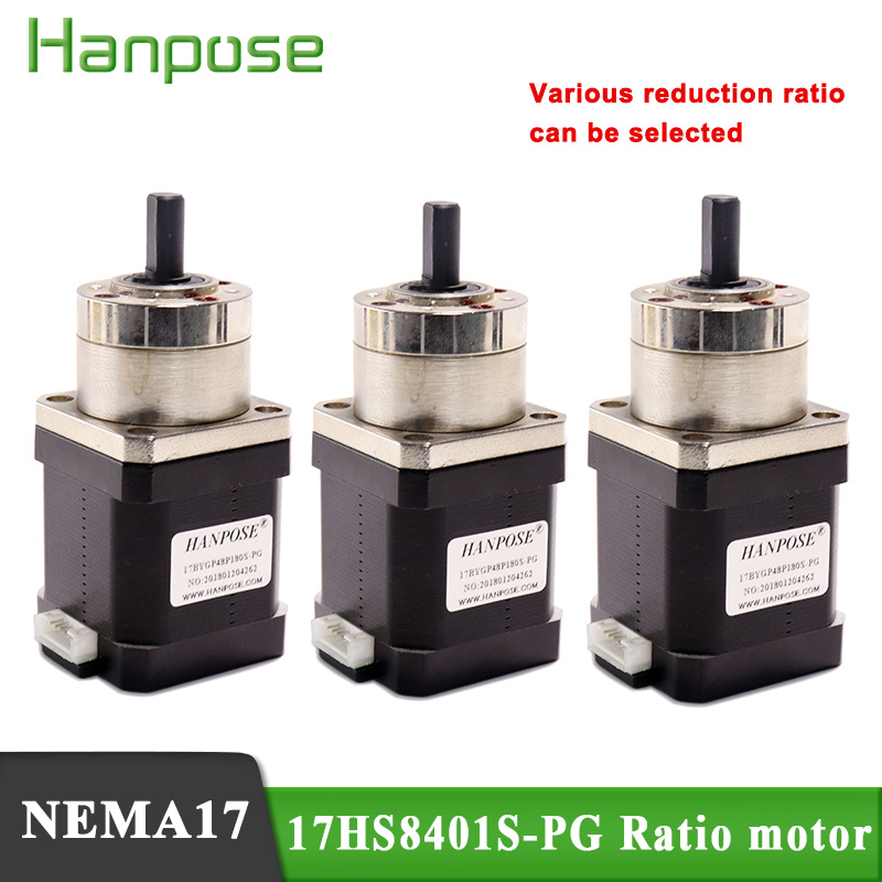 3PCS <font><b>Nema17</b></font> high precision decelerating motor transmission 17HS8401S-PG ratio 5.18:1 14:1 19:1 motor 4-lead for 3D printer image