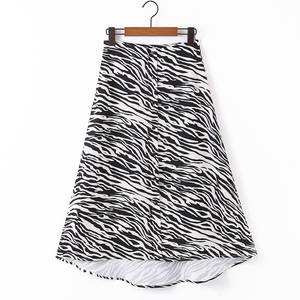 RR Casual Zebra Printed Skirts Women Fashion Loose Buttons Skirt Women Elegant A Line Mid Calf Skirts Female Ladies LZ