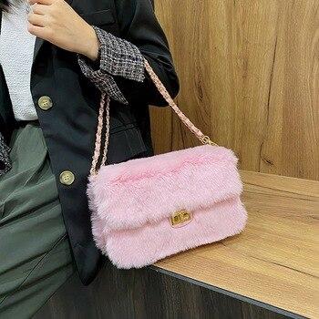 Faux Fur Bag Ladies 2020 Chain Chain Messenger Bag Shoulder Handbag Purse Mini Brand Designer Handbag Fashion Small Square Bag