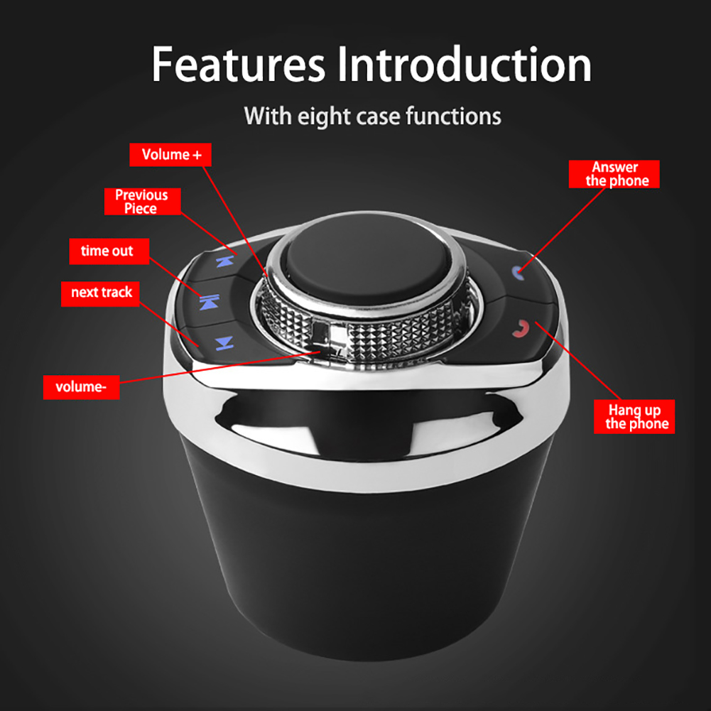 Universal Car Wireless Steering Wheel Control Button With LED Light 8-Key Functions For Car Android Navigation Player Hot Sale