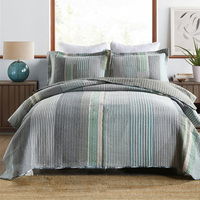 Quality Cotton Bedspread Quilt Set 3pcs Coverlet Yarn Dyed Fabric Quilts Quilted Bed Cover Pillowcase King Size Stripe Blanket