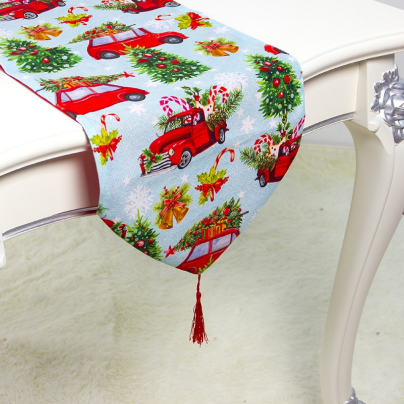 Christmas Trendy Modern Cartoon Print Cotton Christmas Tablecloth Elegant Decor Party Supplies Christmas Table Runner Covers