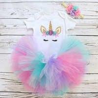 Vestido de 1 año para niña, conjuntos de cumpleaños de niña recién nacida, ropa de dibujos animados de unicornio para niña pequeña, ropa de princesa para bautismo
