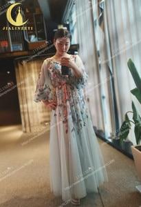 Image 2 - Rijn real Pictures Marchesa Lange Mouwen V hals Kleurrijke Kralen Formele jurken arabisch avondjurken lange