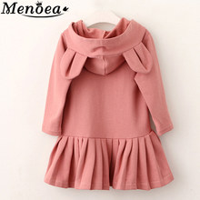 Menoea Girls Autumn Dress 2019 Girl Long-Sleeve Blouse Rabbit Ears Hooded Ruched Kids Dress 2-6Y Children Winter Clothing Dress(China)