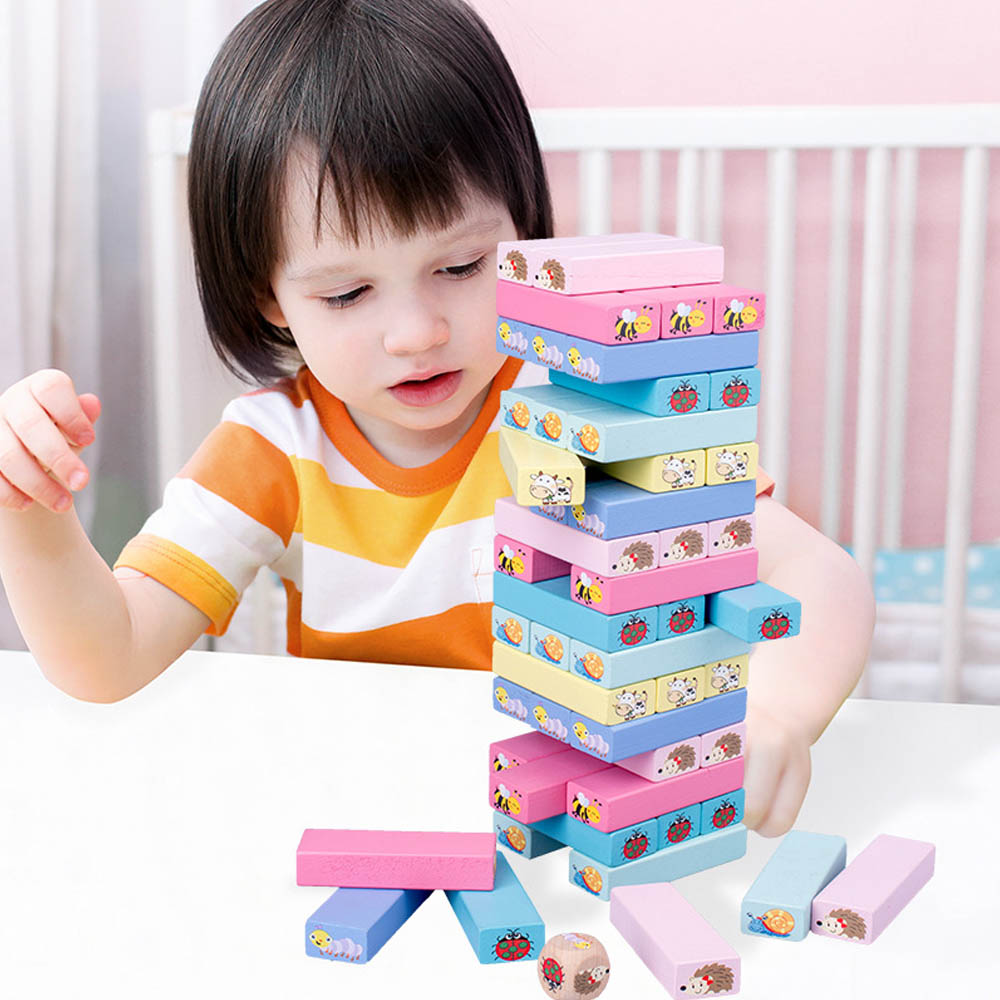 Large Size Wooden Rainbow Animals Tower Building Blocks Toy Domino Stacker Board Game Montessori Educational Children Toys gift