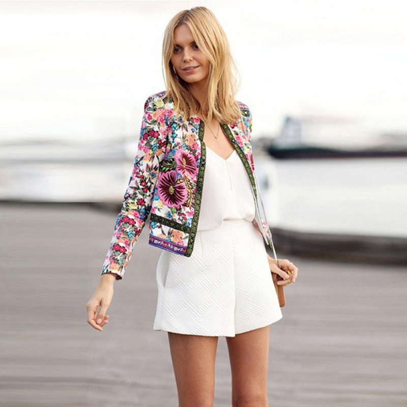 New Women Floral Printed Coat Lady Long Sleeve Jacket Women Casual Short Overcoat Ethnic Style Lace Outer Wear