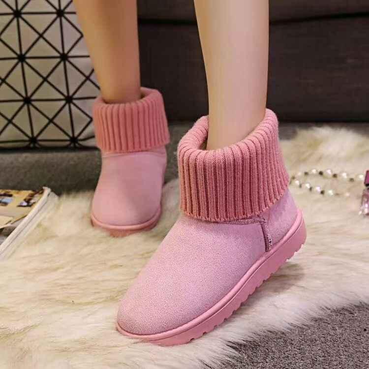 Designer 2019 Hangat Salju Musim Dingin Pergelangan Kaki Datar Bawah Round Toe Wanita Datar Salju Non-Slip Bulu Wanita Musim Dingin kaus Kaki Boots Wanita