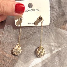 Korean Luxury Hand Drilling Ball boho earrings  rhinestone trendy drop jewelry long luxury