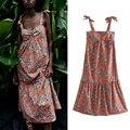 Женское платье-майка с бантом ZA, свободное пляжное платье с цветочным принтом, элегантный повседневный наряд для девушек с открытой спиной ...