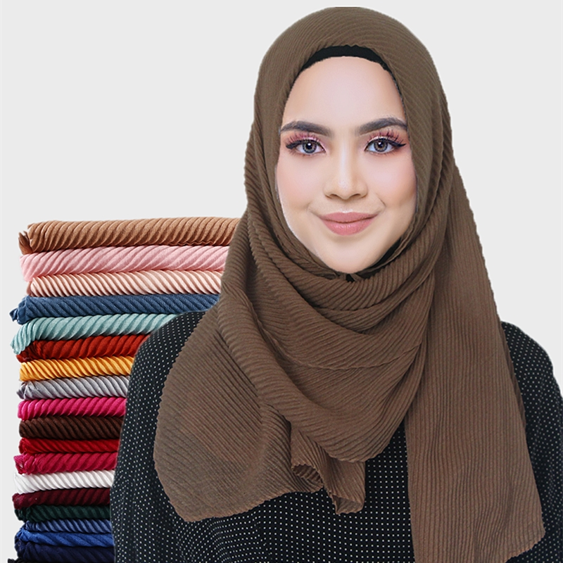 New Women Pleated Cotton Hijabs Scarf Plain Wrinkle Crinkle Crimp Shawl Wraps Stole Muffler Muslim Hijab Headscarf