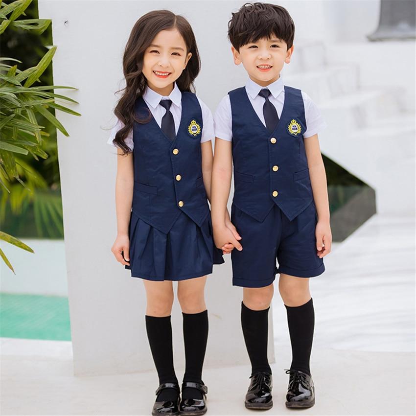 Children Navy Blue Cotton Japanese School Uniform For Girls Boys Pleated Student Korean Style Vest Shirts Pants Skirt Overalls