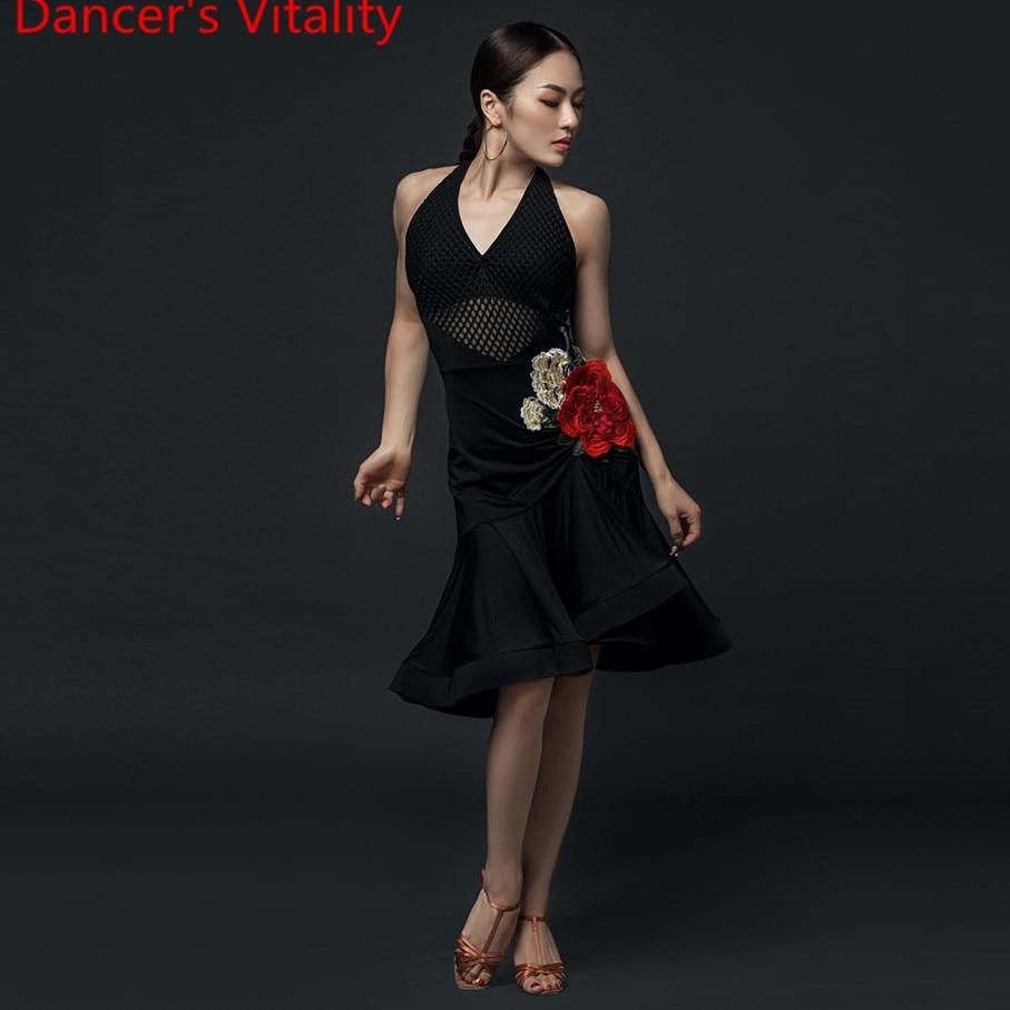 Latin Dance Performance Clothes Women Adults Embroidered Fishbone Hem Dress Professional Rumba Samba Tango Dancing Stage Wear