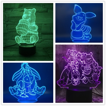 Lámpara de dibujos animados 3D de Disney para niños, Winnie The Pooh,...