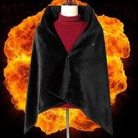 女性屋外 USB 防寒着ショール炭素繊維加熱ショール加熱スカーフ電気毛布暖かい黒毛布 DPF001