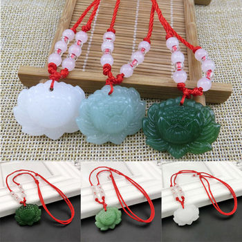 Natural Green Jade Lotus Pendant Beads Necklace Charm Jewellery Fashion Accessories Hand-Carved woman Luck Amulet Gifts image