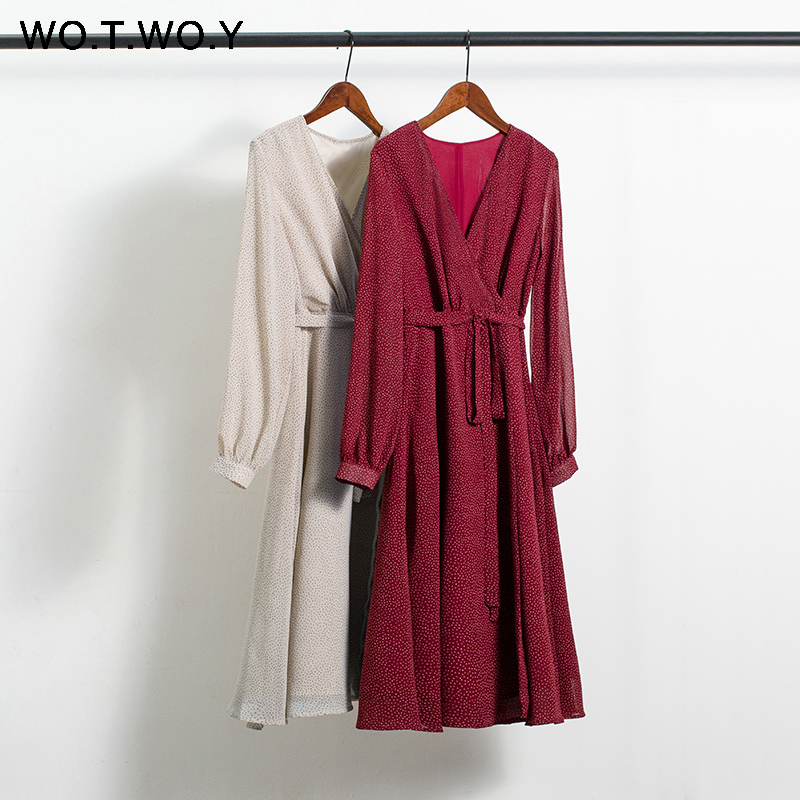 WOTWOY 2020 Bohemian Dot Print Dresses Women Summer Cross V-neck Sashes Mid-Calf Dress Lady Long Sleeve Button Dresses Female 1