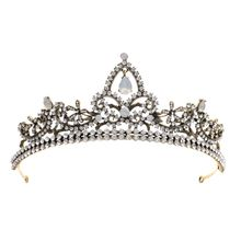 Vintage Rhinestone Crown Alloy Hairband Luxury Baroque Hair Hoop Women Tiaras Decor недорого