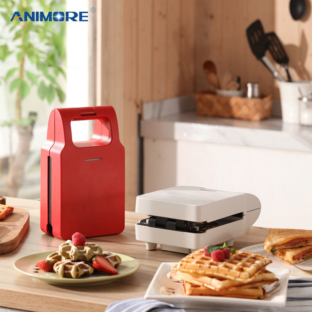 ANIMORE Electric Egg Sandwich Maker Mini Grilling Panini Baking Plates Toaster Multifunction Non-Stick waffle Breakfast Machine 1