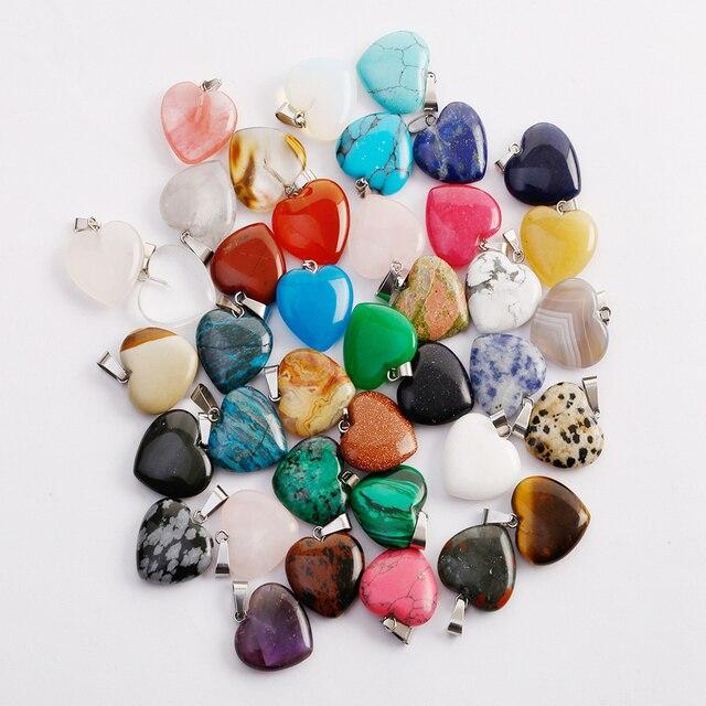 天然石クリスタルハートペンダント振り子opaliteチャクラヒーチャーム50ピース/ロット卸売ジュエリーメイキングのために