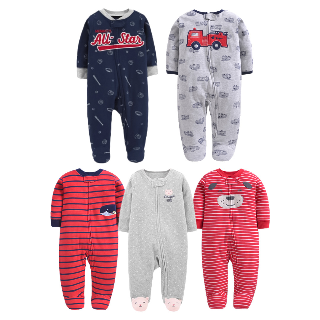 New Born Baby Cartoon Clothing Autumn Zipper Long Sleeved Clothes Infant Baby Boys Girls Cotton Jumpsuit Climbing Footie Pajamas